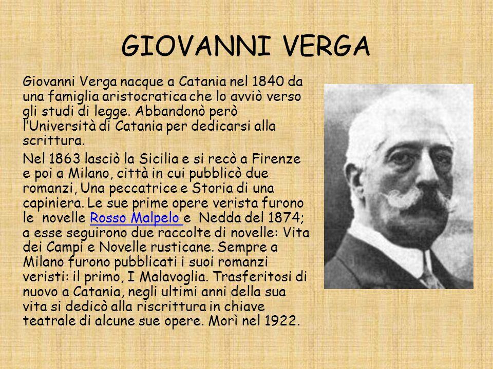 GIOVANNI VERGA Giovanni Verga nacque a Catania nel 1840 da una famiglia aristocratica che lo avviò verso gli studi di legge. Abbandonò però lUniversit