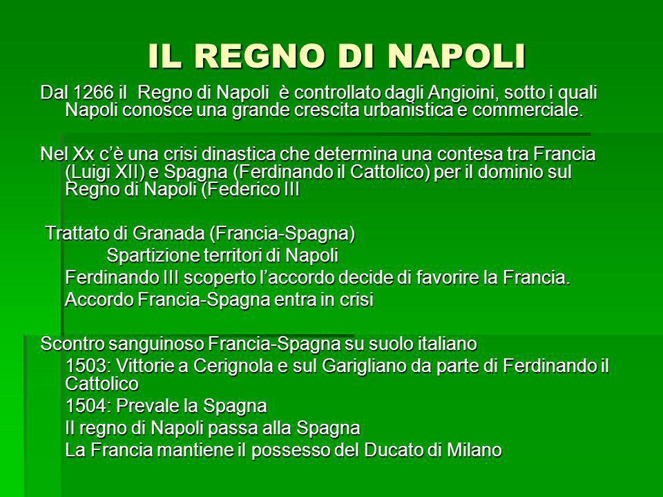 IL REGNO DI NAPOLI Dal 1266 il Regno di Napoli è controllato dagli Angioini, sotto i quali Napoli conosce una grande crescita urbanistica e commercial