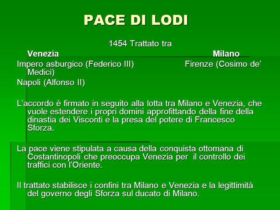 PACE DI LODI 1454 Trattato tra VeneziaMilano Impero asburgico (Federico III) Firenze (Cosimo de Medici) Napoli (Alfonso II) Laccordo è firmato in segu