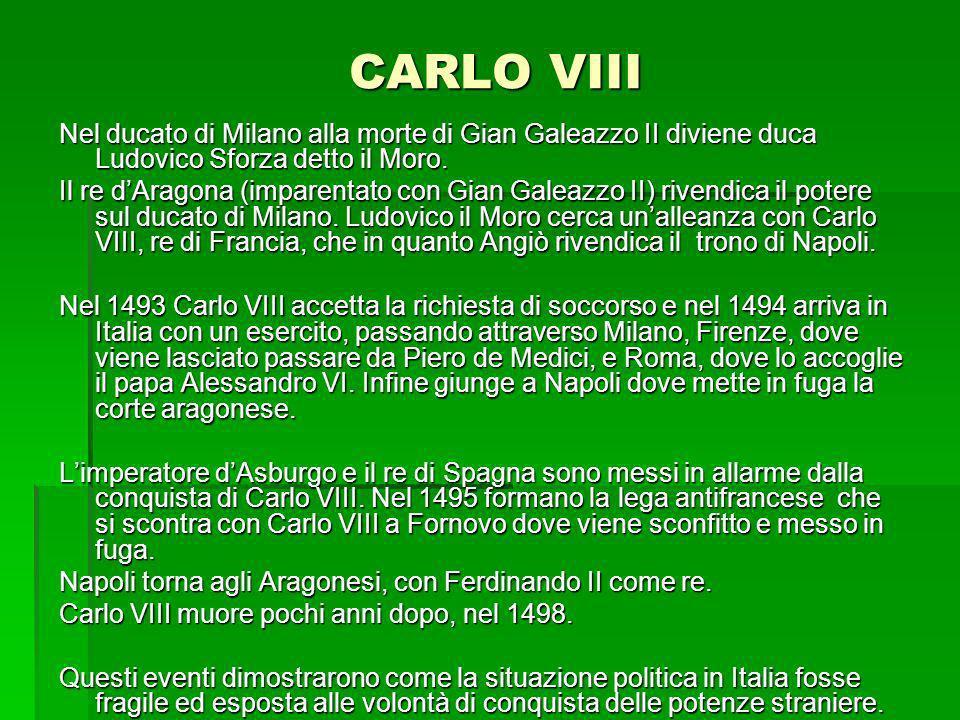 CARLO VIII Nel ducato di Milano alla morte di Gian Galeazzo II diviene duca Ludovico Sforza detto il Moro. Il re dAragona (imparentato con Gian Galeaz