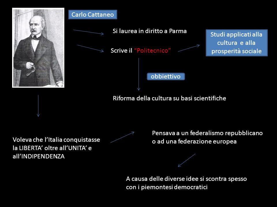Carlo Cattaneo Si laurea in diritto a Parma Carlo Cattaneo Scrive il Politecnico Studi applicati alla cultura e alla prosperità sociale obbiettivo Rif