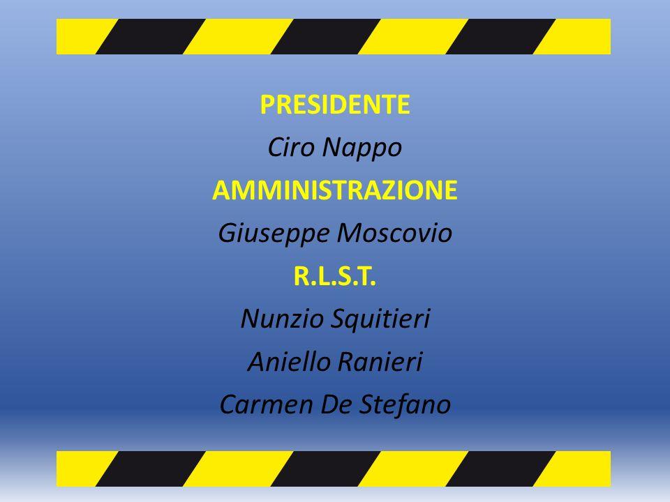 PRESIDENTE Ciro Nappo AMMINISTRAZIONE Giuseppe Moscovio R.L.S.T.