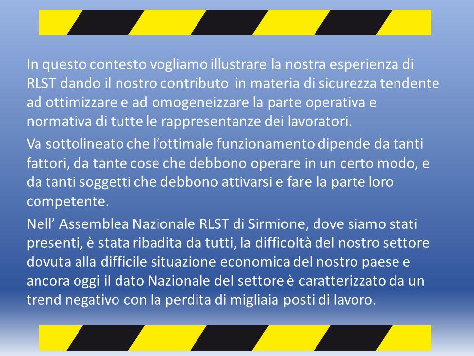 In questo contesto vogliamo illustrare la nostra esperienza di RLST dando il nostro contributo in materia di sicurezza tendente ad ottimizzare e ad omogeneizzare la parte operativa e normativa di tutte le rappresentanze dei lavoratori.
