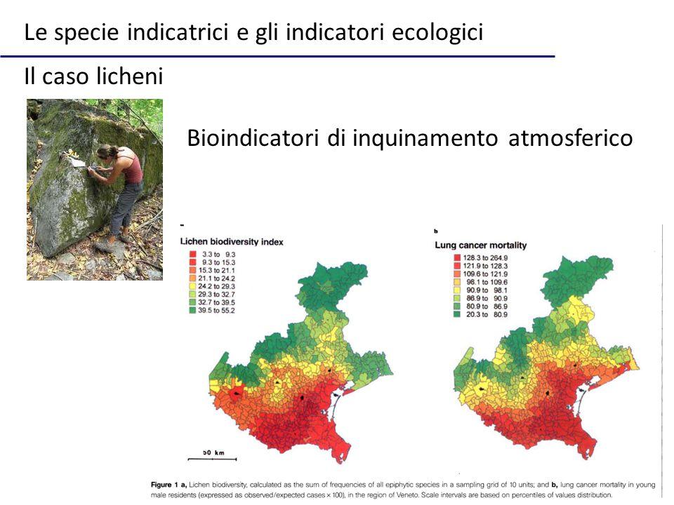 Le specie indicatrici e gli indicatori ecologici Il caso licheni Bioindicatori di inquinamento atmosferico