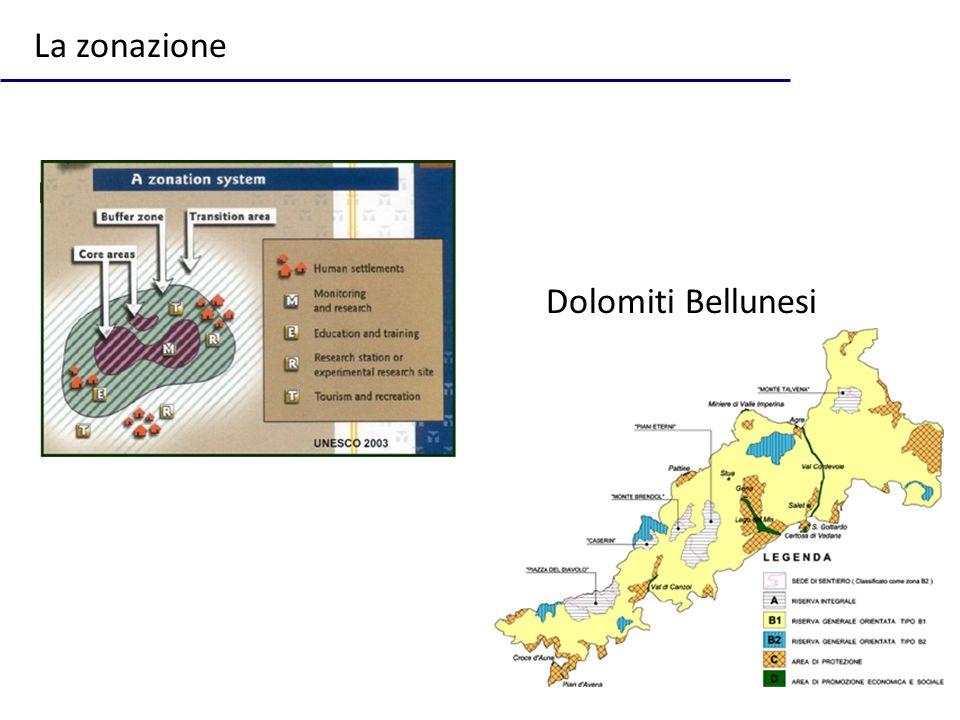 La zonazione Dolomiti Bellunesi