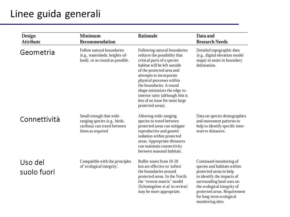 Linee guida generali Geometria Connettività Uso del suolo fuori