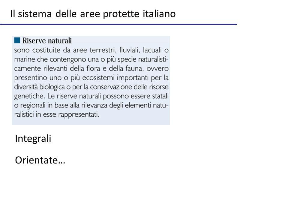 Integrali Orientate… Il sistema delle aree protette italiano
