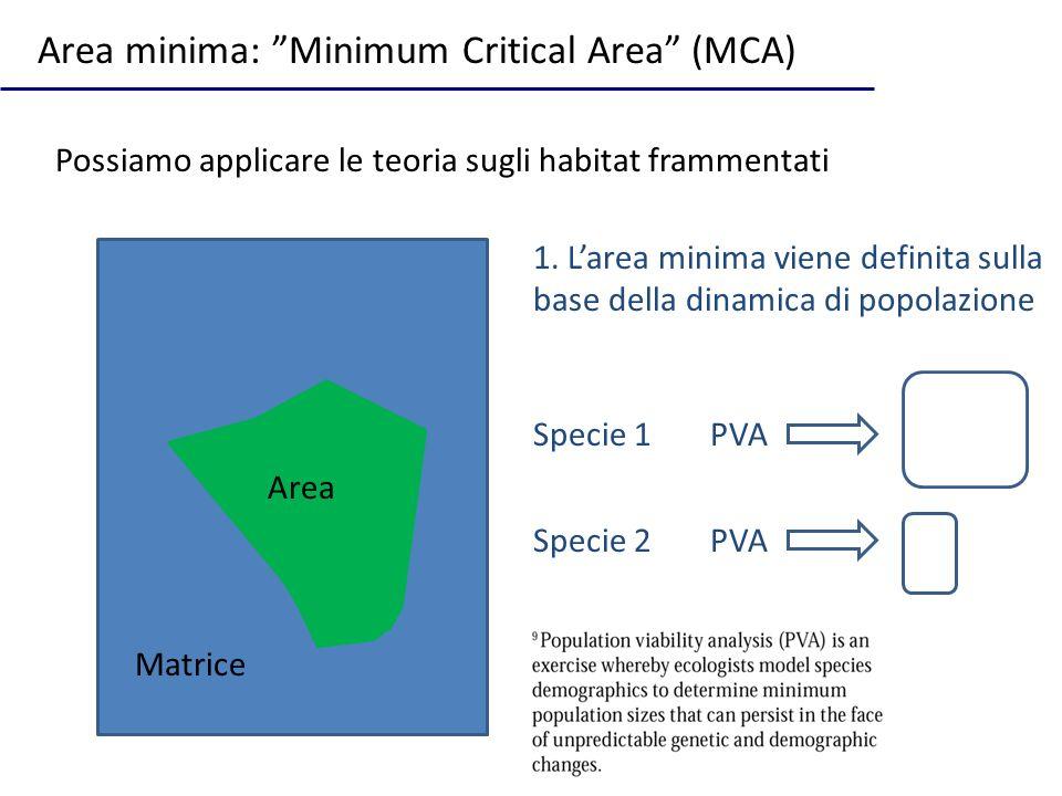 Possiamo applicare le teoria sugli habitat frammentati Area minima: Minimum Critical Area (MCA) Area Matrice 1. Larea minima viene definita sulla base