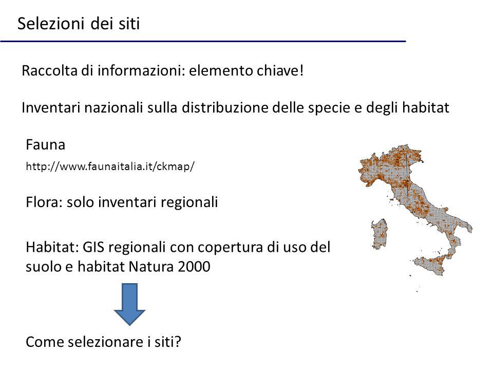 Selezioni dei siti Raccolta di informazioni: elemento chiave! Inventari nazionali sulla distribuzione delle specie e degli habitat http://www.faunaita