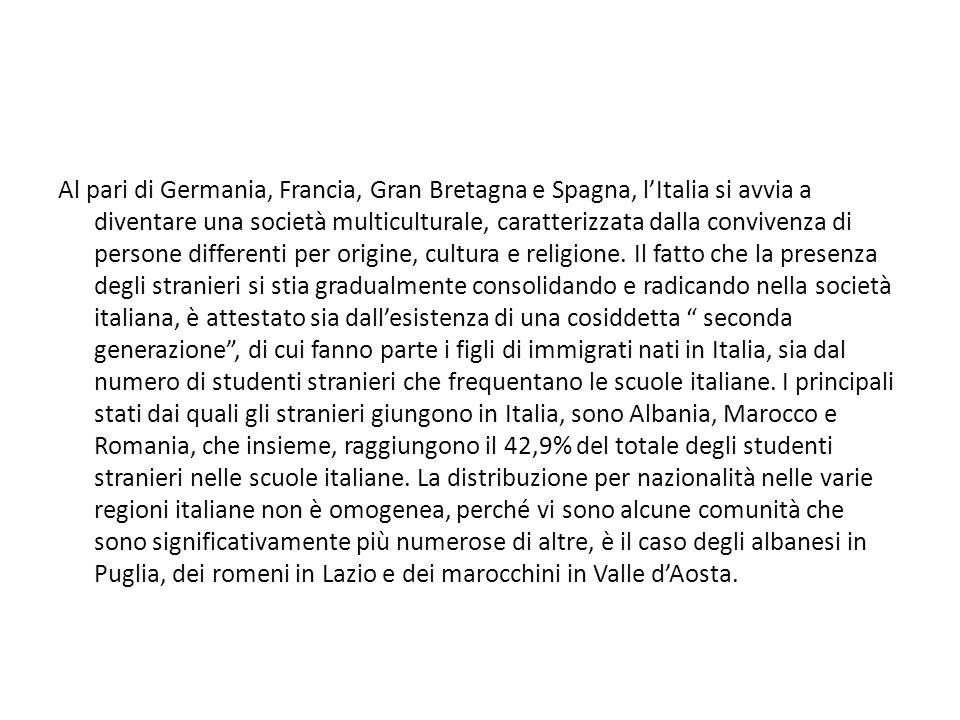 Al pari di Germania, Francia, Gran Bretagna e Spagna, lItalia si avvia a diventare una società multiculturale, caratterizzata dalla convivenza di pers