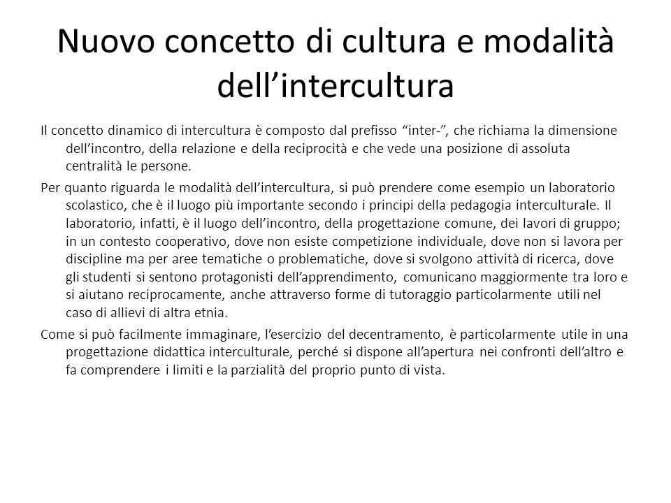 Nuovo concetto di cultura e modalità dellintercultura Il concetto dinamico di intercultura è composto dal prefisso inter-, che richiama la dimensione