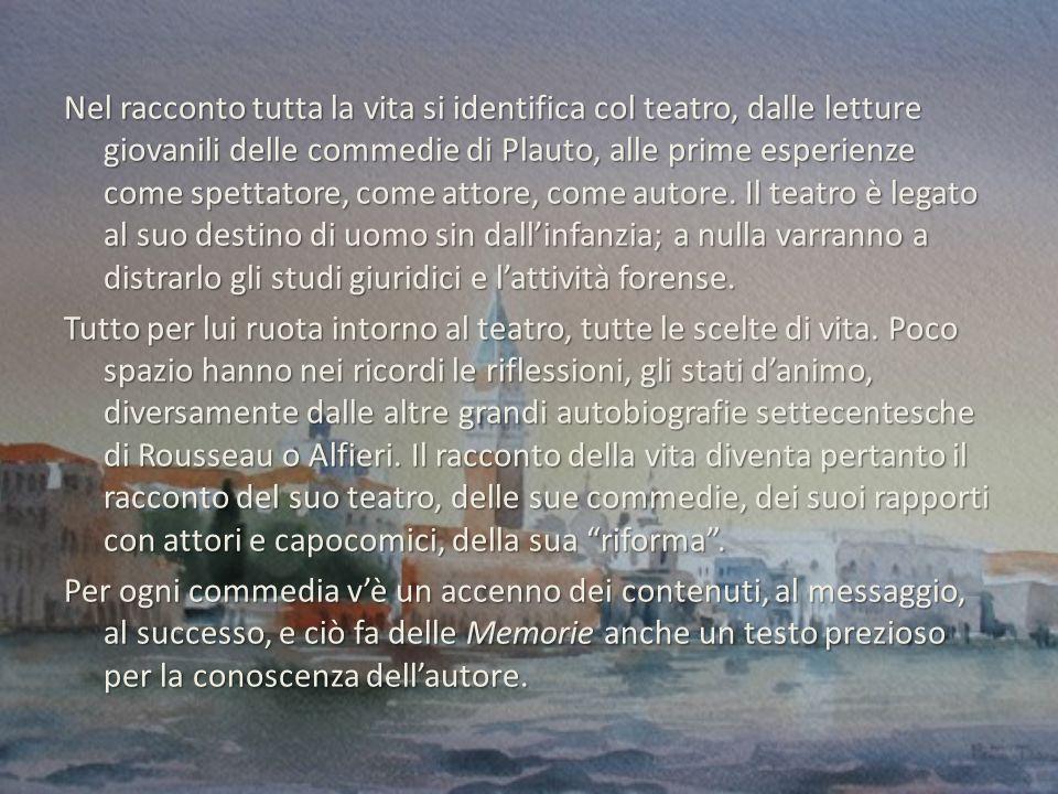 Nel racconto tutta la vita si identifica col teatro, dalle letture giovanili delle commedie di Plauto, alle prime esperienze come spettatore, come attore, come autore.
