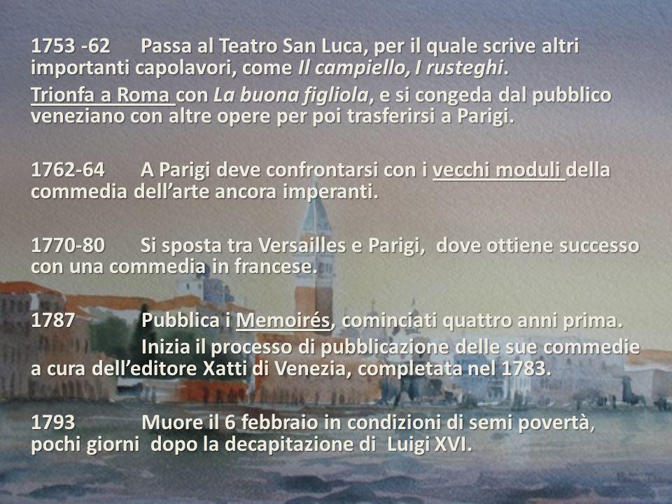 1753 -62 Passa al Teatro San Luca, per il quale scrive altri importanti capolavori, come Il campiello, I rusteghi.