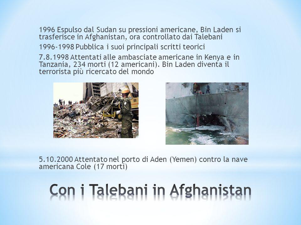 1996 Espulso dal Sudan su pressioni americane, Bin Laden si trasferisce in Afghanistan, ora controllato dai Talebani 1996-1998 Pubblica i suoi princip