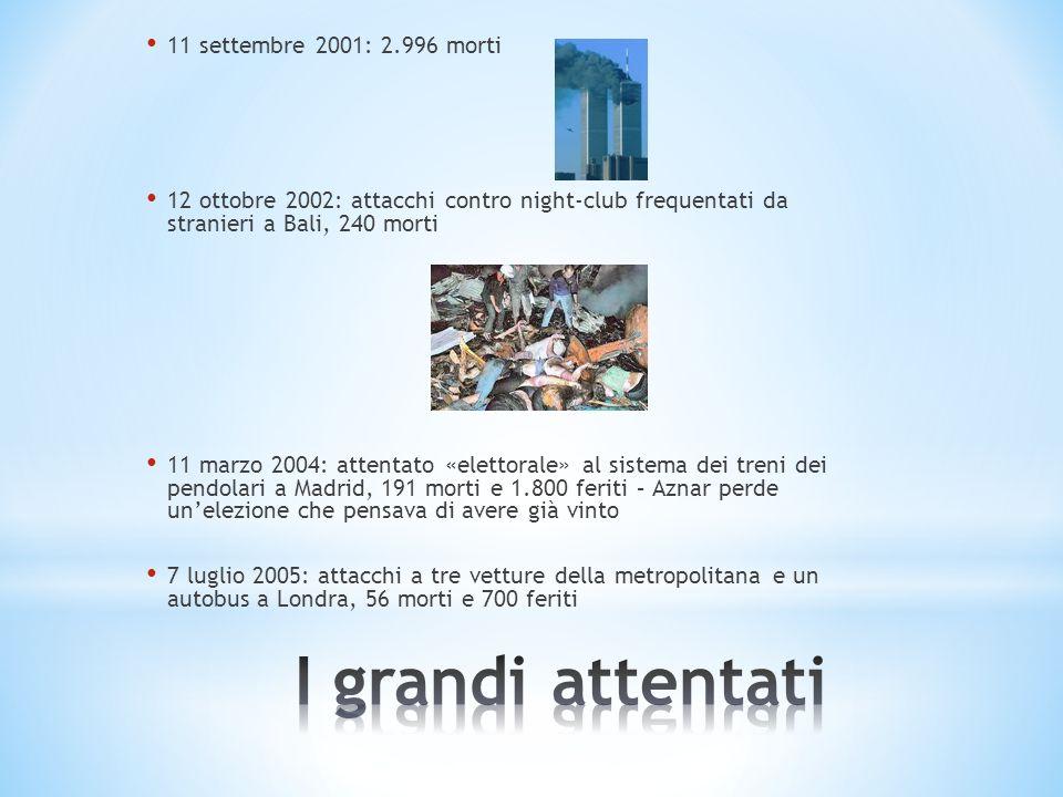 11 settembre 2001: 2.996 morti 12 ottobre 2002: attacchi contro night-club frequentati da stranieri a Bali, 240 morti 11 marzo 2004: attentato «eletto