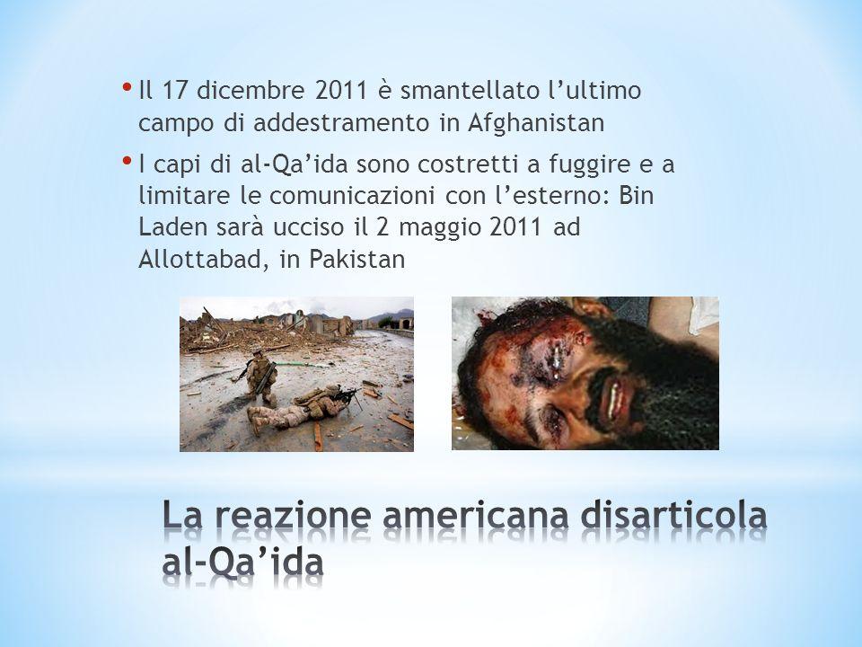 Il 17 dicembre 2011 è smantellato lultimo campo di addestramento in Afghanistan I capi di al-Qaida sono costretti a fuggire e a limitare le comunicazi