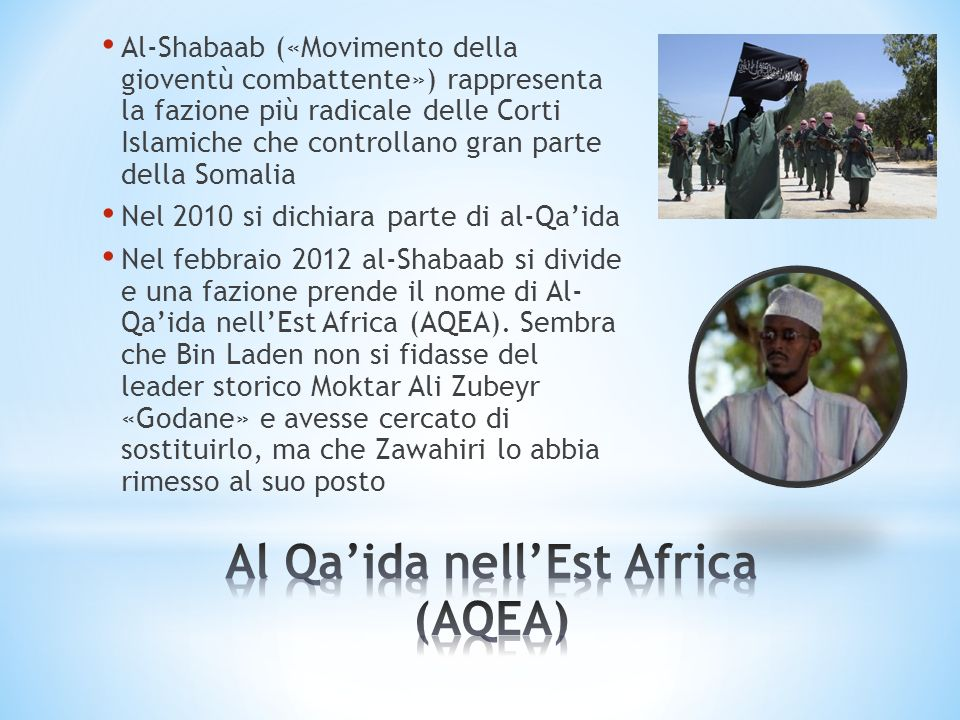 Al-Shabaab («Movimento della gioventù combattente») rappresenta la fazione più radicale delle Corti Islamiche che controllano gran parte della Somalia