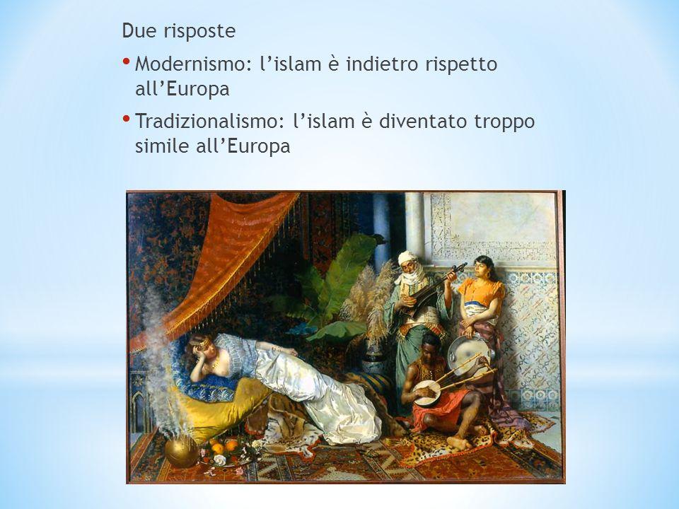 Due risposte Modernismo: lislam è indietro rispetto allEuropa Tradizionalismo: lislam è diventato troppo simile allEuropa