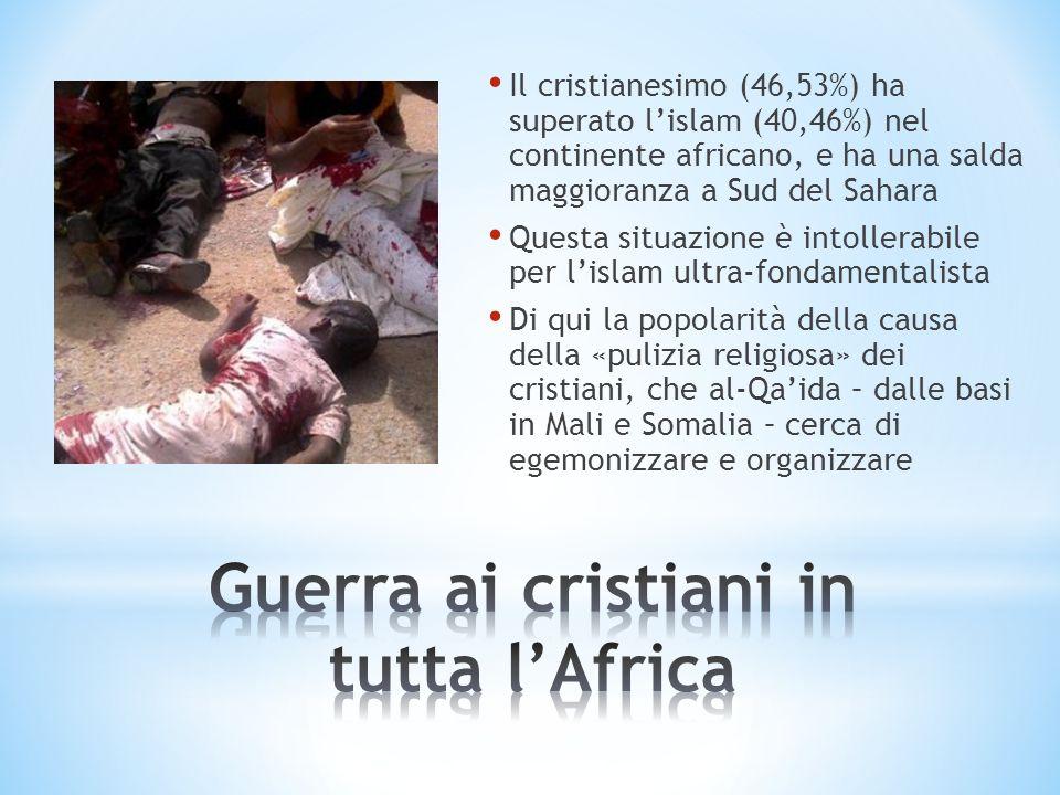 Il cristianesimo (46,53%) ha superato lislam (40,46%) nel continente africano, e ha una salda maggioranza a Sud del Sahara Questa situazione è intolle
