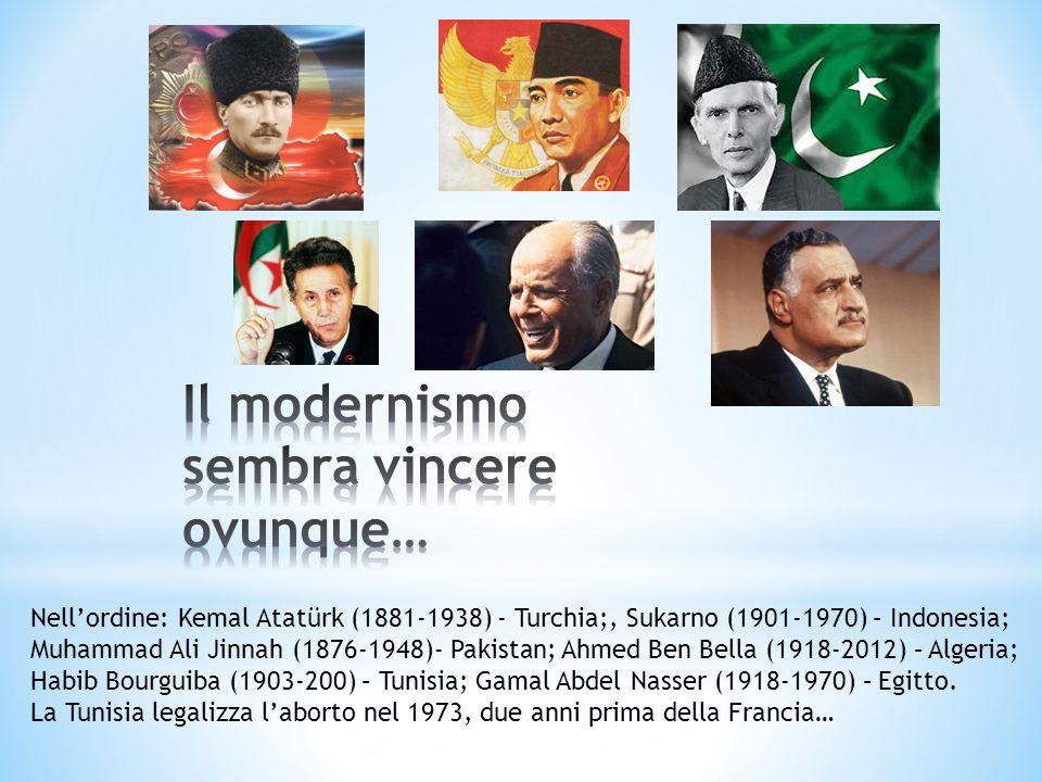 Nellordine: Kemal Atatürk (1881-1938) - Turchia;, Sukarno (1901-1970) – Indonesia; Muhammad Ali Jinnah (1876-1948)- Pakistan; Ahmed Ben Bella (1918-20