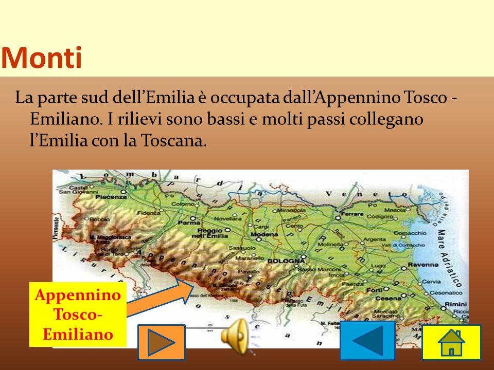 Territorio Il territorio dell Emilia - Romagna è per la maggior parte pianeggiante, per un altra parte collinare e anche montuoso. Fiumi Monti
