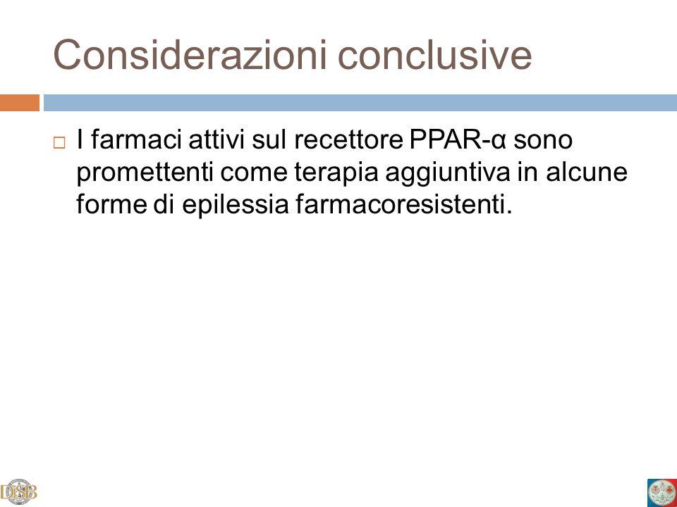 Considerazioni conclusive I farmaci attivi sul recettore PPAR-α sono promettenti come terapia aggiuntiva in alcune forme di epilessia farmacoresistent