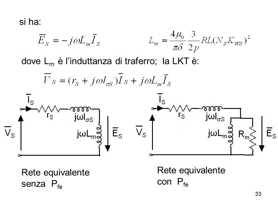 si ha: dove L m è linduttanza di traferro; la LKT è: Rete equivalente senza P fe Rete equivalente con P fe 33
