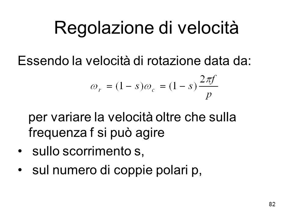 Regolazione di velocità Essendo la velocità di rotazione data da: per variare la velocità oltre che sulla frequenza f si può agire sullo scorrimento s