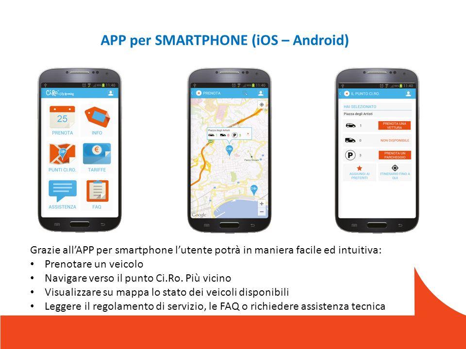 APP per SMARTPHONE (iOS – Android) Grazie allAPP per smartphone lutente potrà in maniera facile ed intuitiva: Prenotare un veicolo Navigare verso il punto Ci.Ro.