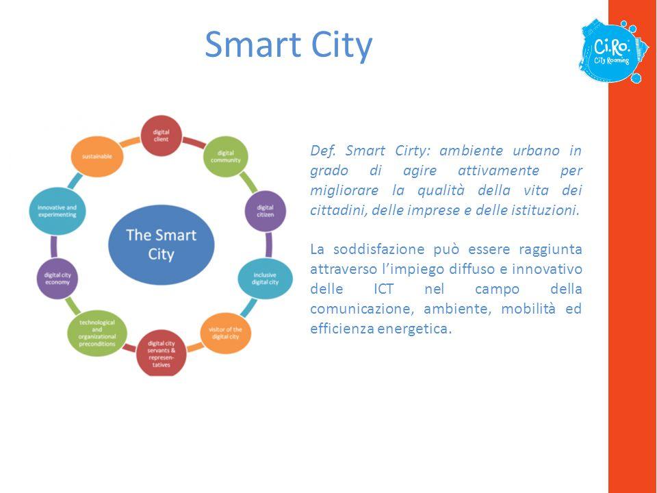 Smart City Def. Smart Cirty: ambiente urbano in grado di agire attivamente per migliorare la qualità della vita dei cittadini, delle imprese e delle i