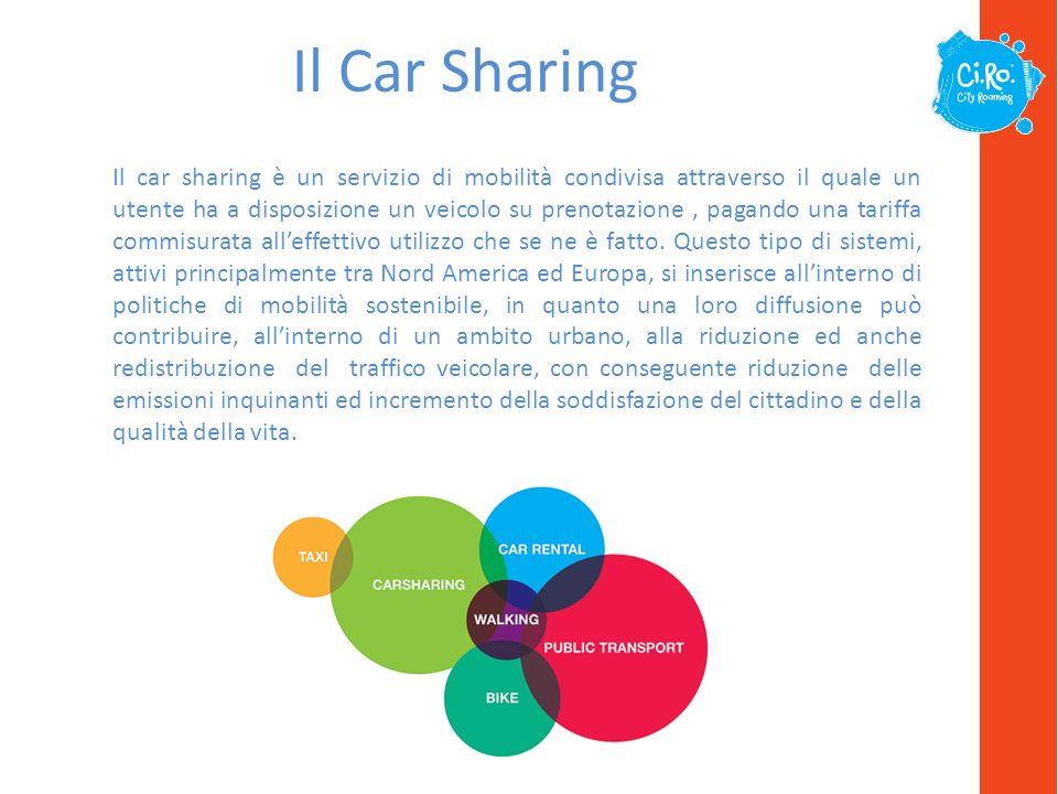 Il Car Sharing Il car sharing è un servizio di mobilità condivisa attraverso il quale un utente ha a disposizione un veicolo su prenotazione, pagando una tariffa commisurata alleffettivo utilizzo che se ne è fatto.