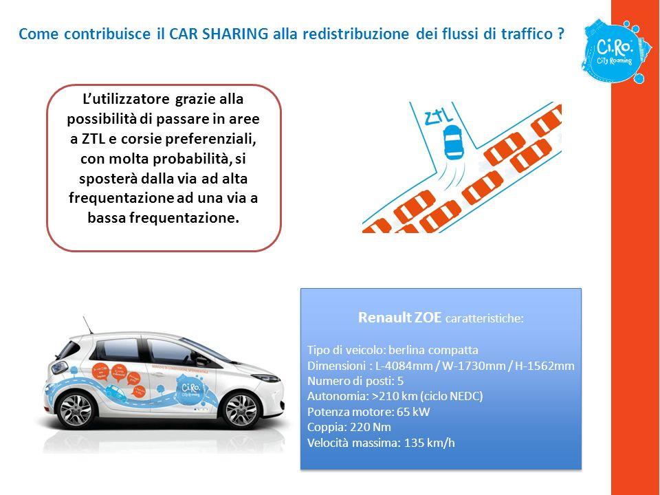 Come contribuisce il CAR SHARING alla redistribuzione dei flussi di traffico ? Lutilizzatore grazie alla possibilità di passare in aree a ZTL e corsie