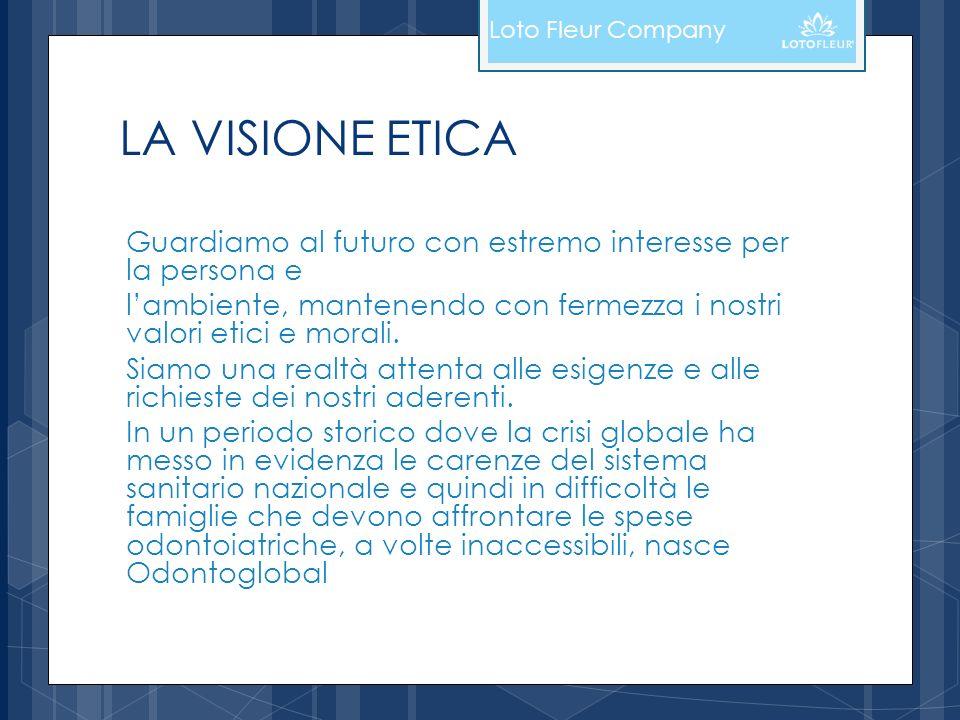 LA VISIONE ETICA Guardiamo al futuro con estremo interesse per la persona e lambiente, mantenendo con fermezza i nostri valori etici e morali. Siamo u