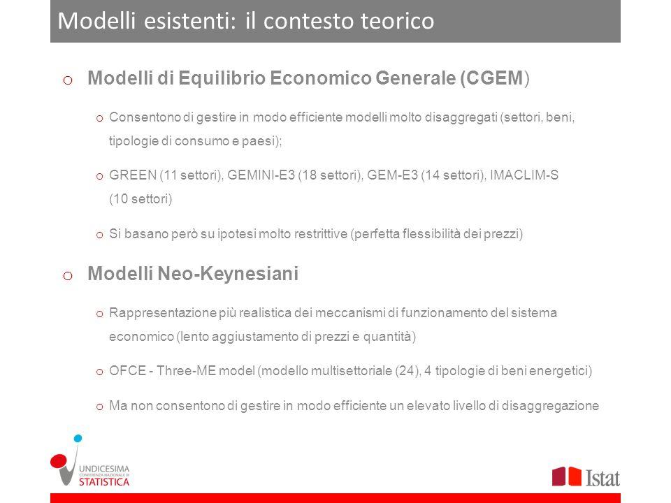 Modelli esistenti: il contesto teorico o Modelli di Equilibrio Economico Generale (CGEM) o Consentono di gestire in modo efficiente modelli molto disa