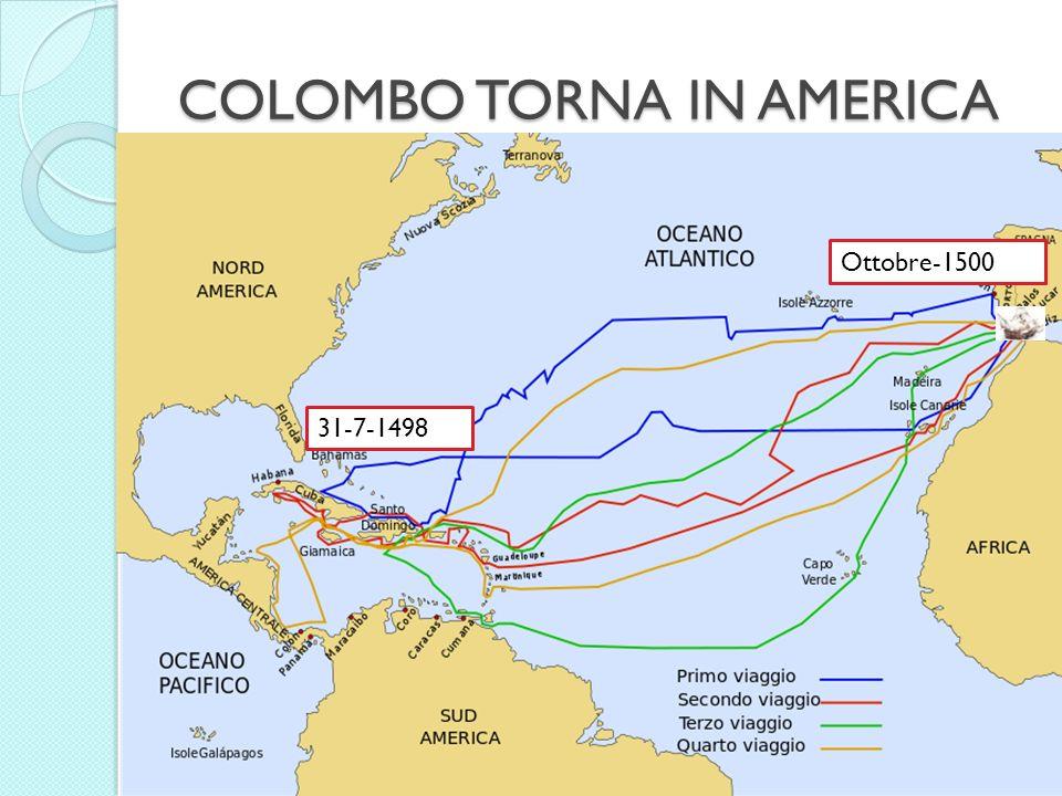 COLOMBO TORNA IN AMERICA CADICE 31-7-1498 Ottobre-1500