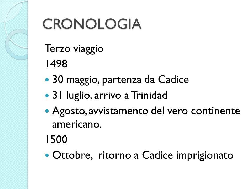 CRONOLOGIA Terzo viaggio 1498 30 maggio, partenza da Cadice 31 luglio, arrivo a Trinidad Agosto, avvistamento del vero continente americano. 1500 Otto