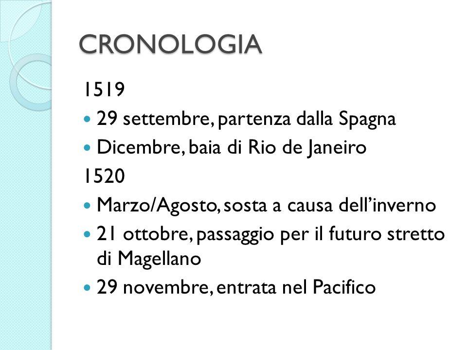 CRONOLOGIA 1519 29 settembre, partenza dalla Spagna Dicembre, baia di Rio de Janeiro 1520 Marzo/Agosto, sosta a causa dellinverno 21 ottobre, passaggi