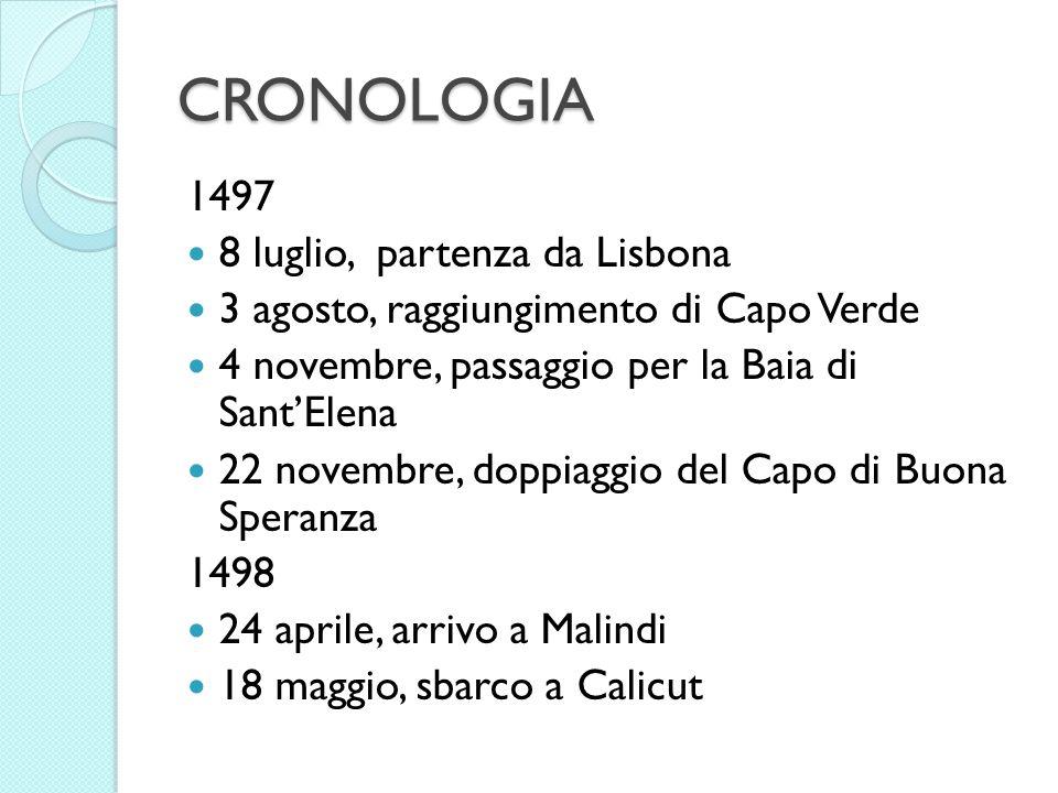 CRONOLOGIA 1497 8 luglio, partenza da Lisbona 3 agosto, raggiungimento di Capo Verde 4 novembre, passaggio per la Baia di SantElena 22 novembre, doppi
