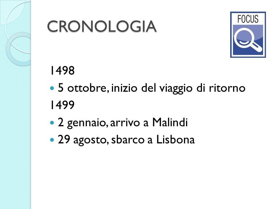 CRONOLOGIA 1498 5 ottobre, inizio del viaggio di ritorno 1499 2 gennaio, arrivo a Malindi 29 agosto, sbarco a Lisbona
