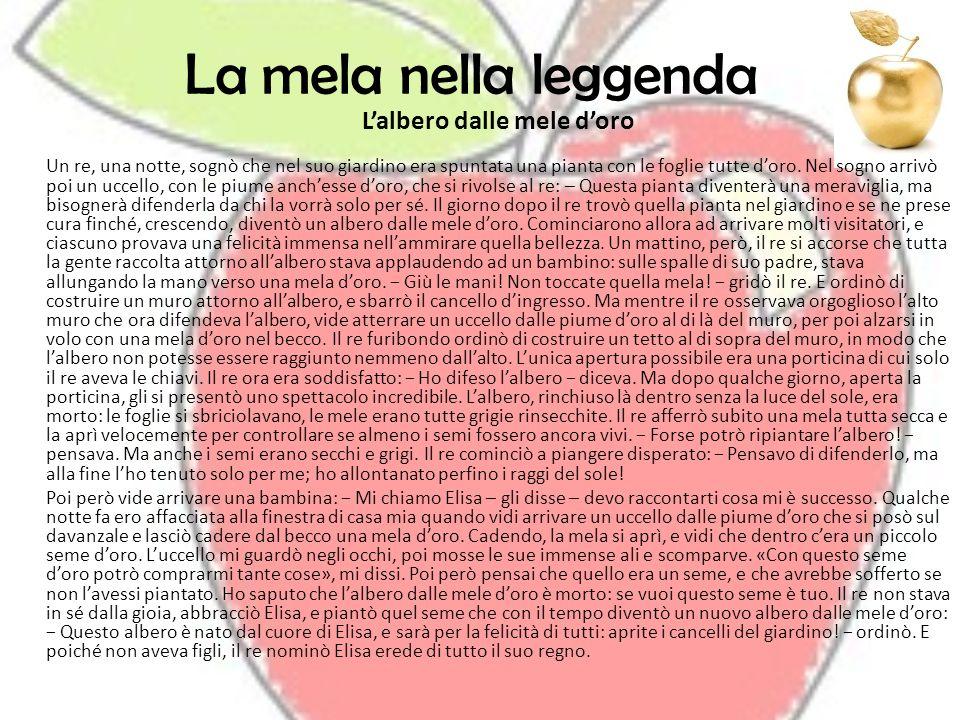 La mela nella leggenda Lalbero dalle mele doro Un re, una notte, sognò che nel suo giardino era spuntata una pianta con le foglie tutte doro. Nel sogn