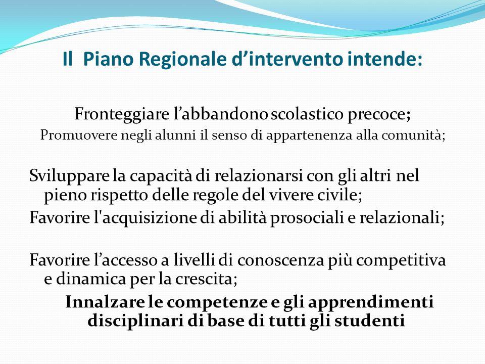 Il Piano Regionale dintervento intende: Fronteggiare labbandono scolastico precoce; Promuovere negli alunni il senso di appartenenza alla comunità; Sv