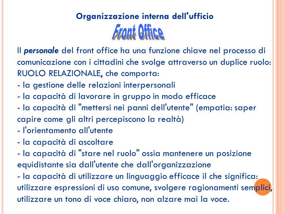 Organizzazione interna dell'ufficio Il personale del front office ha una funzione chiave nel processo di comunicazione con i cittadini che svolge attr