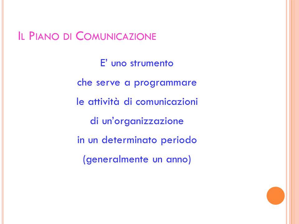 I L P IANO DI C OMUNICAZIONE E uno strumento che serve a programmare le attività di comunicazioni di unorganizzazione in un determinato periodo (gener