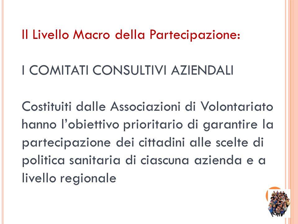 Il Livello Macro della Partecipazione: I COMITATI CONSULTIVI AZIENDALI Costituiti dalle Associazioni di Volontariato hanno lobiettivo prioritario di g