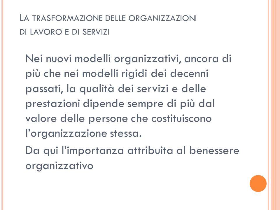 L A TRASFORMAZIONE DELLE ORGANIZZAZIONI DI LAVORO E DI SERVIZI Nei nuovi modelli organizzativi, ancora di più che nei modelli rigidi dei decenni passa