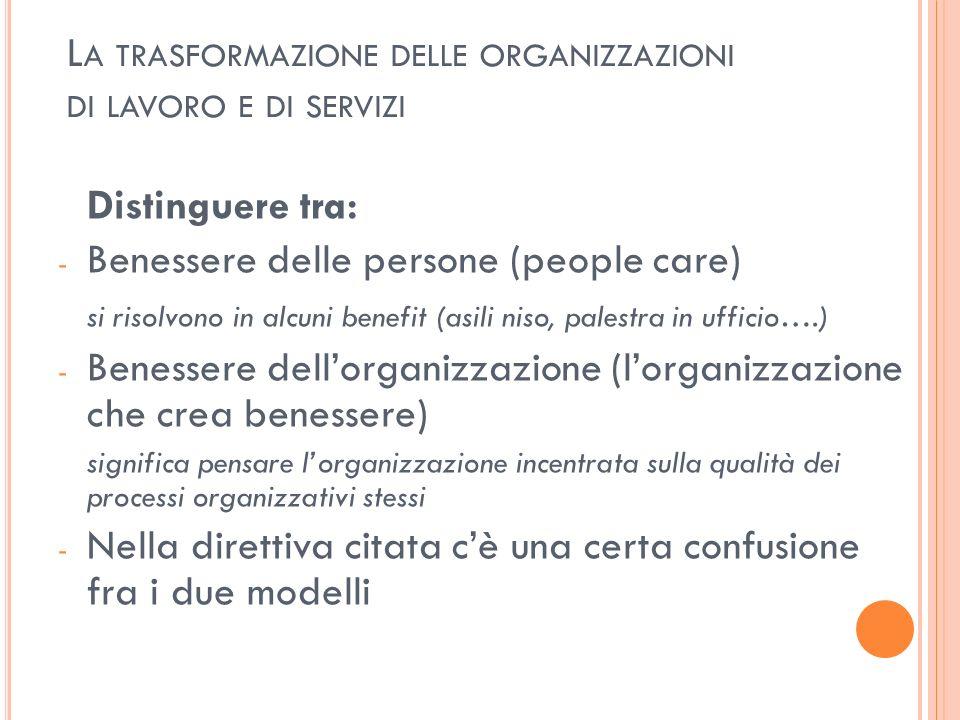 L A TRASFORMAZIONE DELLE ORGANIZZAZIONI DI LAVORO E DI SERVIZI Distinguere tra: - Benessere delle persone (people care) si risolvono in alcuni benefit