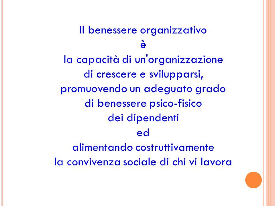 Il benessere organizzativo è la capacità di un'organizzazione di crescere e svilupparsi, promuovendo un adeguato grado di benessere psico-fisico dei d