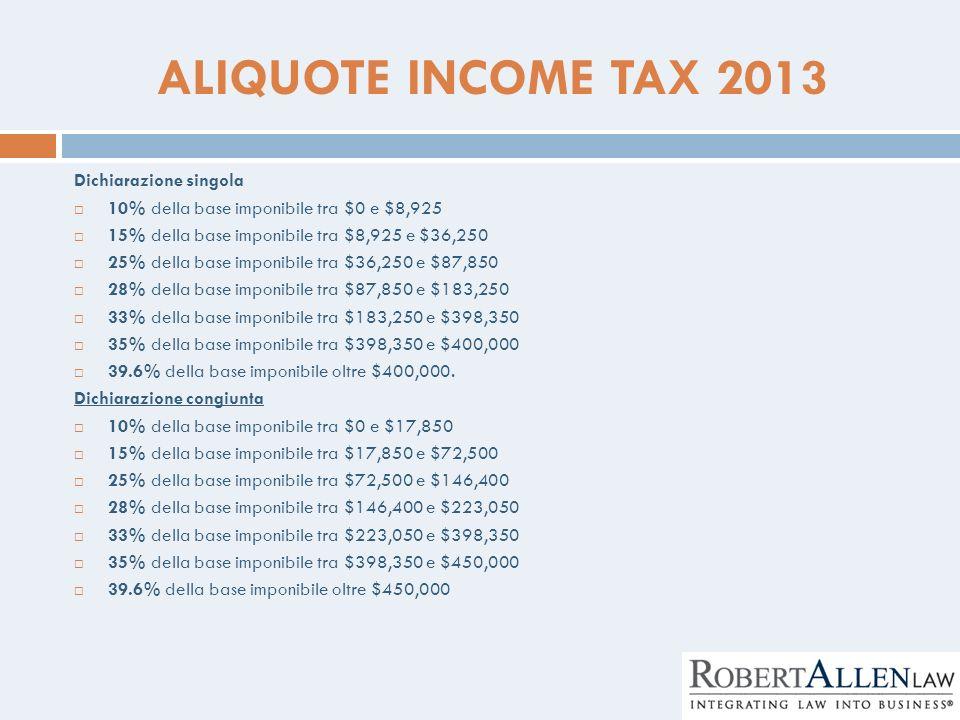 ALIQUOTE INCOME TAX 2013 Dichiarazione singola 10% della base imponibile tra $0 e $8,925 15% della base imponibile tra $8,925 e $36,250 25% della base