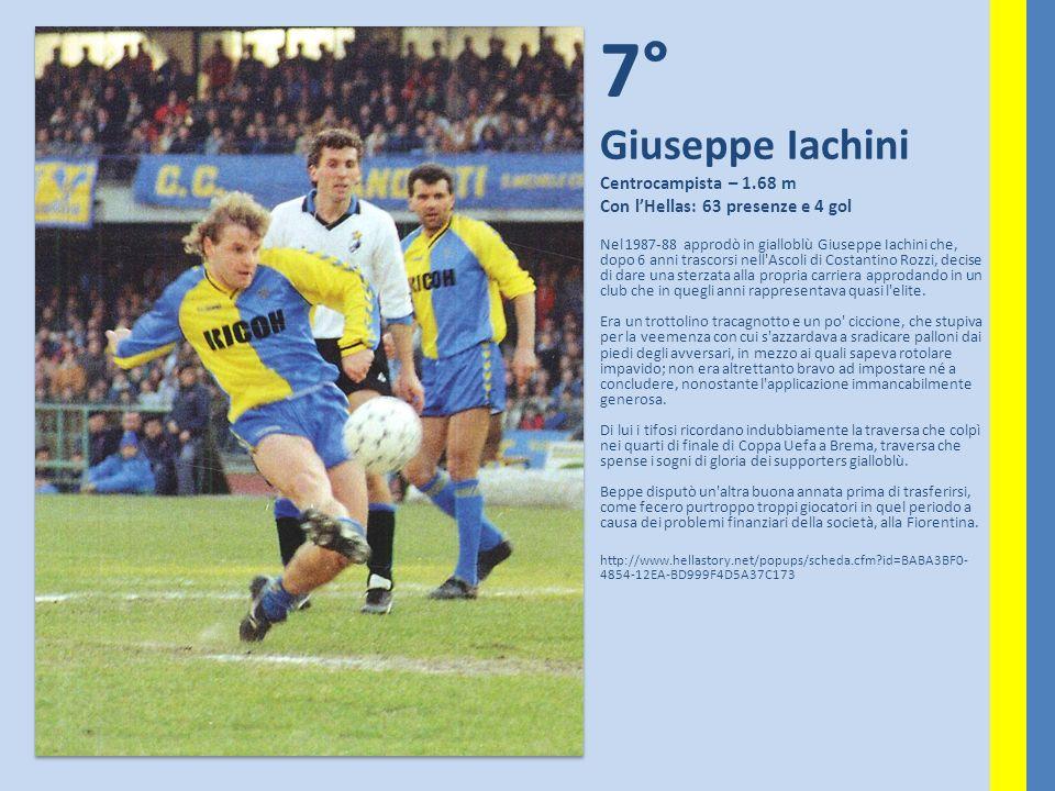 6° Franco Bassetti Ala – 1.60 m Con lHellas: 56 presenze e 14 gol BASSETTI nel 1956/57 segna il primo gol del campionato ed anche l ultimo (importantissimo) che ci garantisce la promozione in Serie A; CONTI, oltre ad essere un aletta guizzante «ante litteram» è diventato Campione d Italia, come allenatore, nel 1965/66 con la squadra Allievi e l anno successivo Campione d Italia con la squadra Primavera.