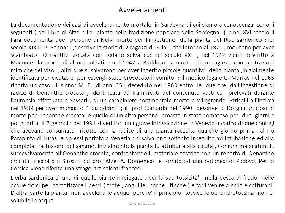 Avvelenamenti La documentazione dei casi di avvelenamento mortale in Sardegna di cui siamo a conoscenza sono i seguenti ( dal libro di Atzei : Le pian